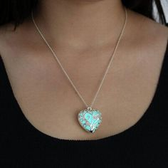 Glow-in-the-Dark Heart Necklace - This necklace is not only captivating during the day, but it's magically glowing at night, too!