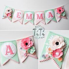 Banner for Emma  #feltcraft #feltflowers #handmade #titikreatywnaprzestrzen #gerland #nurserydecor #babygirl #proporczyki #dekoracjezfilcu #dekoracjehandmade #kwiatyzfilcu #feltdecor #handmadeshop #polishhandmade #filcoweliterki #imiedziecka #imienasciane #dekoracjaścienna #nasciane #literkizfilcu #literki #filc #felt #feltro #feltnamebanner #pennatbanner #feltname #proporczyk #namegarland #namebanner