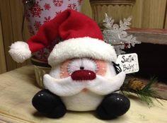 Primitive Raggedy Christmas Santa Snowman Doll Winter Snow Shelf Sitter 6in #Unbranded #Christmas