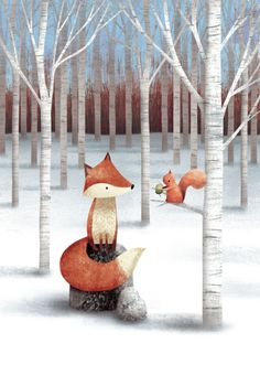 """James Newman Gray, """"Fox And Squirrel"""".  Oh, how dear is that little squirrel with the acorn present."""