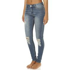 Res Denim Kitty Skinny Womens Jean ($69) ❤ liked on Polyvore featuring jeans, pants, destroyed skinny jeans, ripped jeans, ripped blue jeans, super skinny jeans and destructed skinny jeans