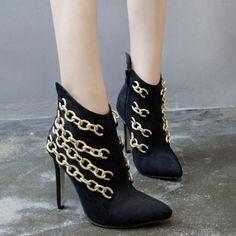 fashionPointed Toe Chains Stiletto Heel Boots  -  40  BLACK 19676 #fashion #style #shopping #fashionblogger #fashionista #fashionblog #beauty