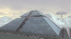 Spaceship Take Off From Futuristic Pyramid Stock Footage Video ...