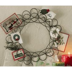 This tag spiral wreath greeting card holder can be used year round for displaying mementos. Merry Christmas Baby, Vintage Christmas Ornaments, Christmas Holidays, Christmas Wreaths, Christmas Crafts, Christmas Ideas, Holiday Ideas, Christmas Decorations, Xmas
