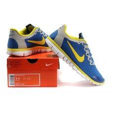 Ekte Nike Free 3.0 V2 menn Royal Blå Grå Gul Hvit pris{TiO6YR}