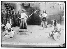 "Jap[anese] sailors fencing  (LOC) by The Library of Congress on Flickr.A través de Flickr:  Bain News Service"" publisher.  Jap[anese] sailors fencing  [between ca. 1910 and ca. 1915]  1 negative : glass ; 5 x 7 in. or smaller.Notes: Both titles from unverified data provided by the Bain News Service on the negative.  Forms part of: George Grantham Bain Collection (Library of Congress).Format:  Glass negatives.Rights Info:  No known restrictions on publication.Repository:  Library of Co"