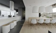 Home design, Unique Kitchen Chairs With Dining Room Using Chandelier And Wooden Veneer Flooring: amazing interior with Modern Minimalist Concept 2014 Apartment Interior, Kitchen Interior, Flat Interior Design, Gray Interior, Modern Interior, Tamizo Architects, Minimal Apartment, Minimalist Flat, Cool Apartments