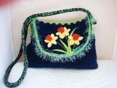 felted tote, felted purse, felted handbag, fiber art, wearable art, iris handbag, needle felt art, blue,felt handbag,$175,daffodils,www.feltedfantasies.com