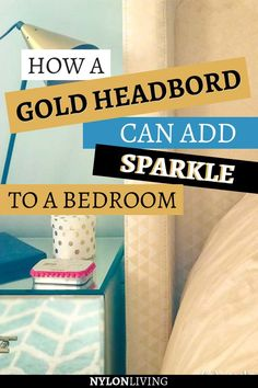 What to do when your teen daughter wants a sparkly gold bedroom in our new house? For a sparkly bedroom, discover how a gold upholstered headboard can add all the sparkle you need. A gold and mint bedroom is always a good idea! #gold #upholsteredheadboard #headboard #bedroomsideas