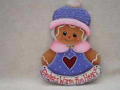 Gingerbread Fridge Magnet  Gingers Warm the Heart Designer: Pamela House eBay: CherishedAtticTreasures Facebook: Cherished Attic Treasures Etsy: By Brenda's Hand