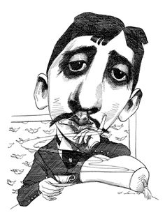 Marcel Proust by David Levine for The New York Review of Books
