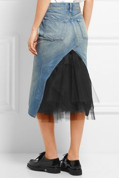 Blue denim, black tulle Button and concealed zip fastening at front Fabric1: 100% cotton; fabric2: 100% nylon; trim: 100% leather (Cow); lining: 100% cupro Dry clean Made in Japan
