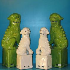 green and white foo dogs