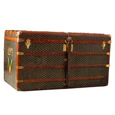 Genuine 1920 Goyard Steamer Trunk from Hildegarde Collection  France  1920  This Vintage Goyard trunk with distinctive chevron canvas was produced in the early 1900's, estimated to be circa 1920. The canvas is woven cotten, linen, and hemp and is painstakingly hand painted in the chevron pattern. In 1856, La Maison Goyard began making trunks, cases, luggage, and handbags in Paris for high society.