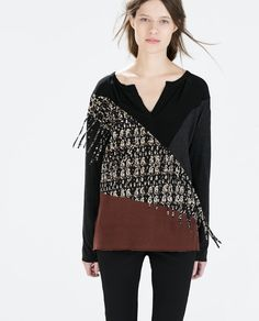 £19.99 SEAMED T-SHIRT WITH FRINGES from Zara