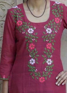 30 Trendy Embroidery Designs for neck to inspire you - Wedandbeyond Embroidery On Kurtis, Hand Embroidery Dress, Kurti Embroidery Design, Embroidery Neck Designs, Applique Dress, Embroidery Ideas, Salwar Neck Designs, Dress Neck Designs, Kurta Designs