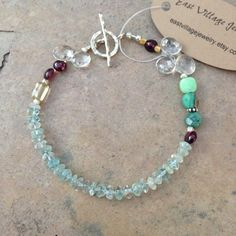 Aquamarine, Garnet and Green Moss Opal Bracelet with Crystal Teardrops and Sterling Silver by EastVillageJewelry on Etsy