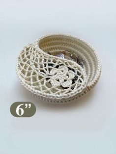 Crochet Basket Pattern, Yin Yang Jewelry Dish 6, Photo Tutorial. Rings plate, Crochet gift for her. This listing is for the instant download PDF file,