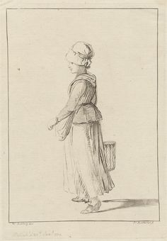 Print made by James Bretherton, ca. 1730–1806, British, A Maid, 1774, Etching on moderately thick, rough, blued white laid paper, Yale Center for British Art, Paul Mellon Collection recto