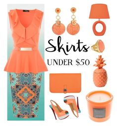 """""""Skirts under $50"""" by lovelyluella ❤ liked on Polyvore featuring Designers Guild, Hermès, Dorothy Perkins, Christian Louboutin, Chico's, Kenneth Jay Lane, Millefiori and Lite Source"""