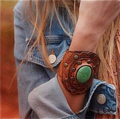 Tooled Leather Boho Cuff Green Turquoise Stone Tooled Design Wide Boho Karen Kell Collection via Etsy Leather Cuffs, Leather Tooling, Leather Jewelry, Tooled Leather, Cuff Jewelry, Leather Bracelets, Pendant Jewelry, Bullet Jewelry, Geek Jewelry