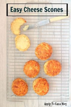 These light and fluffy Cheese scones are easy and just the best. Full of flavour served warm and slathered with butter nothing else matters. Perfect as a snack or served alongside some soup. Baking Recipes, Dessert Recipes, Scone Recipes, Bread Recipes, Desserts, Easy Homemade Biscuits, Scones Ingredients, Easy Cheese, Savory Snacks