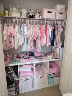 Baby closet Baby girl nursery.  Emily's nursery is ready for her arrival! :)