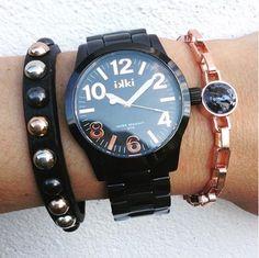ikki style, let's get black, horloge, watch, Lauren, black & roségold, zwart en roségoud horloge, arm candy, ikki Fashion