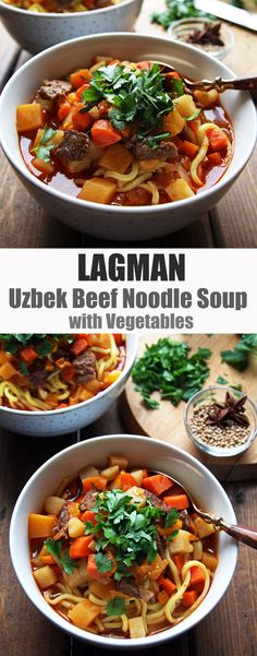 Lagman - Flavorful Uzbek Beef Noodle Soup with carrots, potatoes, radish. For a #paleo version use zoodles or another spiralized vegetable to top with the soup broth.
