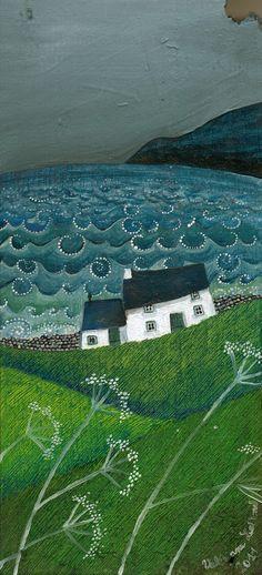 Illustration by Valeriane Leblond. Landscape Quilts, Landscape Art, Frida Art, Illustration Art, Illustrations, Naive Art, Art Plastique, Textile Art, Amazing Art