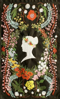 tea towel, silhouette and floral. LOVE!