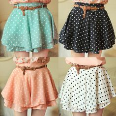 CHIFFON DOT SHORT MINI SKIRT WITH BELT