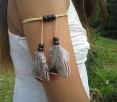 Real Feather Armband Boho Bohemian Native American Style indian armband upper arm armlet Warrior wrap Arm Tie tribal armcuff