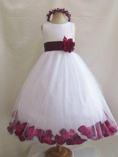 Vestidos menina - Branco com Burgundy Rose Petal Dress (FD0PT) - Casamento Páscoa dama de honra - para o bebê Crianças criança Teen Girls