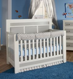 Click to enlargeThe Sogno Bedding Set looks great on the Pali Cortina Crib. The set consists of a blanket, a dust ruffle, a crib top rail cover and a sheet.