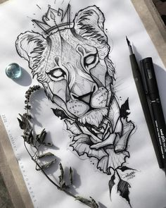 Tattoo Sketches, Tattoo Drawings, Art Drawings, Animal Sketches, Animal Drawings, Female Lion Tattoo, Lion Sketch, Family Tattoo Designs, Gothic Tattoo