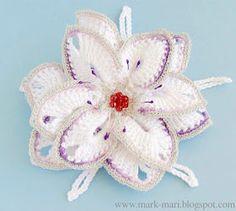 Tina's handicraft : crochet 3d flower hair pin