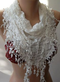 It's hard to go wrong with a scarf. Especially one this great!~   White  Elegance Shawl / Scarf with Lace Edge by womann on Etsy, $16.90