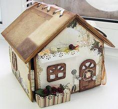 Scrap of Time: Master class on creating house - picture frames Mini Albums Scrap, Mini Scrapbook Albums, Scrapbook Cards, Album Vintage, Cadeau Surprise, Mini Album Tutorial, Paper Crafts, Diy Crafts, Glitter Houses