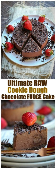 Ultimate Raw Cookie Dough Chocolate Fudge Cake. True decadence and impressive. Only 8 ingredients needed for this entire recipe! Vegan, raw, gluten-free, oil-free, nut-free option. | http://TheVegan8.com | #raw #chocolate #cake #vegan #cookiedough