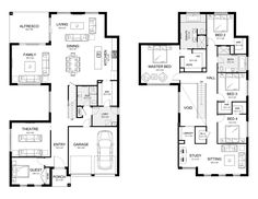Home Design Drawings Melody 43 - Double Level - Floorplan by Kurmond Homes - New Home Builders Sydney NSW Shop House Plans, Dream House Plans, House Floor Plans, Metal Building Homes, Building A House, Building Ideas, Home Design Plans, Plan Design, Storey Homes