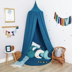 Canopy - Teal Blue - Bed Canopy – Teal Blue with gold specks -Bed Canopy - Teal Blue - Bed Canopy – Teal Blue with gold specks - Kids Canopy, Canopy Tent, Canopies, Hanging Tent, Blue Bedding, Girl Bedding, Chic Bedding, Bedroom Cupboard Designs, Child Room