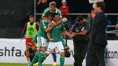 Martin Paterson of Northern Ireland celebrates after scoring the opening goal