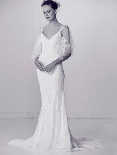 Crystal Embellished Wedding Dress with Flutter Sleeves | Alyne by Rita Vinieris Spring 2018 |  http://trib.al/TYPjE4M
