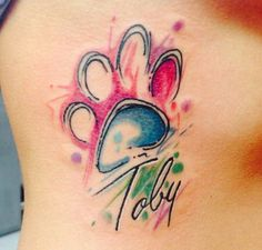 Paw print watercolor tattoo