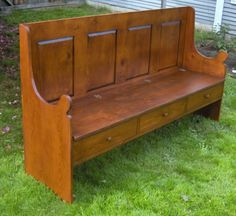 New England Deacons Bench * Country Pine * Church Pew Woodworking Plans, Woodworking Projects, Deacons Bench, Old Churches, Country Primitive, Outdoor Furniture, Outdoor Decor, Hearth, New England
