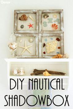 DIY Nautical Shadowbox -- make this shadowbox easily and display your beach mementos year round!