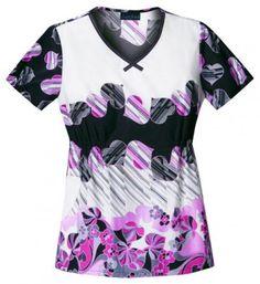 "Cherokee ""Groove Is In The Heart"" Women's V-Neck Top | #nurse #scrubs | #fashion #hearts"