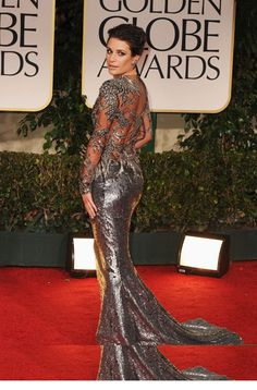 burnished silver & back~ Lea Michele arrives at the 69th Annual Golden Globe Awards in Beverly Hills, California, on January 15.