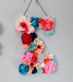 Custom 13 1/2 Inch Floral Letter // Nursery decor, Birthday party decor, photo prop